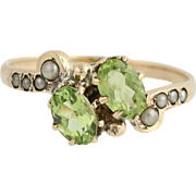 Victorian Peridot & Seed Pearl Bypass Ring - 10k Gold August Antique 1.00ctw