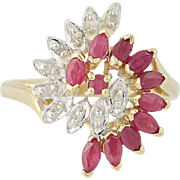 Ruby & Diamond Cluster Bypass Ring - 10k Yellow Gold Marquise Cut 1.30ctw