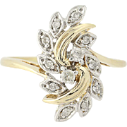 Diamond Bypass Ring - 10k Gold Floral Leaf Spray Round Brilliant Cut .20ctw