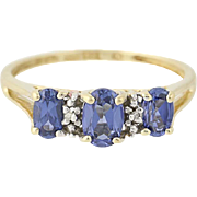 Three-Stone Synthetic Sapphire Ring - 10k Yellow Gold Diamond Accents 1.20ctw