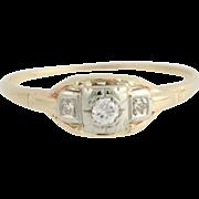 Art Deco Diamond Engagement Ring - 14k Yellow & White Gold Vintage .10ctw