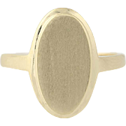 Engravable Signet Ring - 10k Yellow Gold Elongated Oval Size 4 3/4
