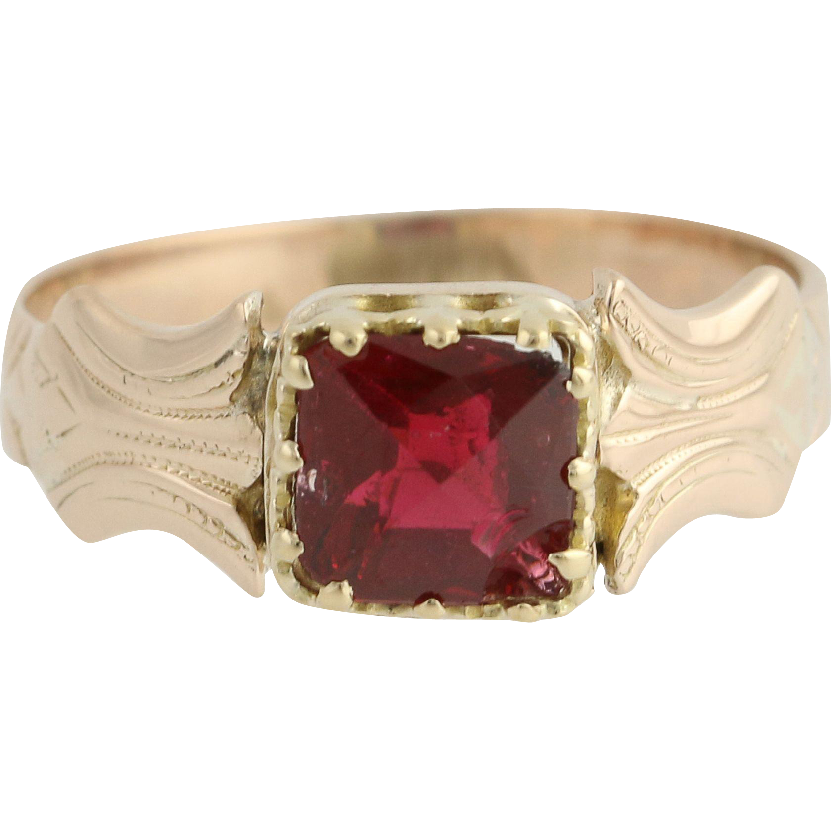 Victorian Era Red Glass Ring - 10k Yellow Gold Solitaire Antique