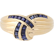 Sapphire Ring - 14k Yellow Gold Size 9 Ribbed Texture 1.60ctw