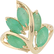 Emerald Botanical Ring - 10k Yellow Gold Leaves Marquise Brilliant Cut 2.60ctw
