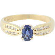 Sapphire & Diamond Ring - 14k Yellow Gold Solitaire with Accents .97ctw