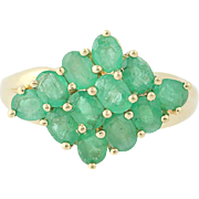Emerald Cluster Ring - 14k Yellow Gold Size 6 Women's 4.32ctw