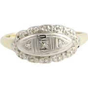 Vintage Diamond-Accented Ring - 10k Yellow & White Gold Floral .01ctw