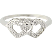 Vintage Hearts Ring - 10k White Gold Diamond Solitaire Size 8 1/2