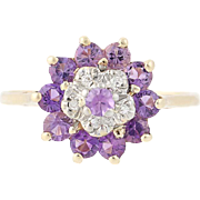 Amethyst & Diamond Cluster Ring - 10k Yellow Gold Tiered .67ctw