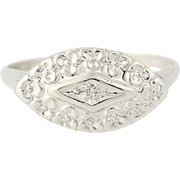 Vintage Diamond-Accented Ring - 10k White Gold Pansy Flower Blossoms
