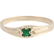 Emerald Solitaire Ring - 10k Yellow Gold May Birthday .06ct
