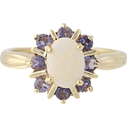 Opal & Tanzanite Halo Ring - 10k Yellow Gold Size 7 1/4 Women's 1.66ctw