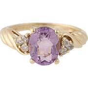 Amethyst & Diamond Ring - 14k Yellow Gold Size 6 Women's 1.74ctw