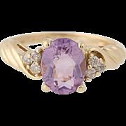 Amethyst & Diamond Ring - 14k Yellow Gold Size 6 Women's 1.74ctw