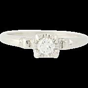 Vintage Diamond Engagement Ring - 18k Gold & Platinum Round Cut Solitaire .18ct