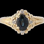 Sapphire & Diamond Ring - 14k Yellow Gold Size 5 1/2 Women's 1.10ctw