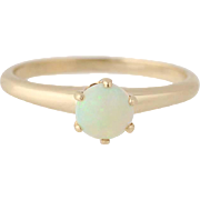 Vintage Opal Solitaire Ring - 14k Yellow Gold Cabochon Cut .30ct