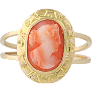 Carved Coral Cameo Ring - 10k Yellow Gold Silhouette Women's Size 6