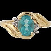 Apatite & Diamond Bypass Ring - 14k Yellow Gold 6 1/4 Women's 1.33ctw