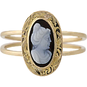 Carved Hardstone Cameo Ring - 10k Yellow Gold Women's Size 5 1/2