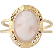 Carved Shell Cameo Ring - 10k Yellow Gold Women's Silhouette Size 5 3/4