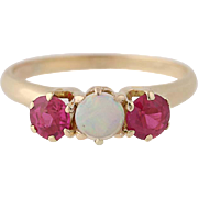 Edwardian Opal & Synthetic Ruby Ring - 12k Yellow Gold Antique .90ctw