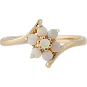 Floral Opal Bypass Ring - 14k Yellow Gold Size 4 3/4 Women's 28ctw