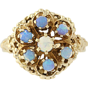 Vintage Opal Cluster Ring - 14k Yellow Gold Rope Accenting .58ctw