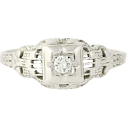 Art Deco Diamond Engagement Ring - 18k White Gold Round Brilliant Cut Vintage