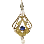 Art Deco Simulated Sapphire & Cultured Pearl Pendant- 10k Gold Vintage Lavaliere