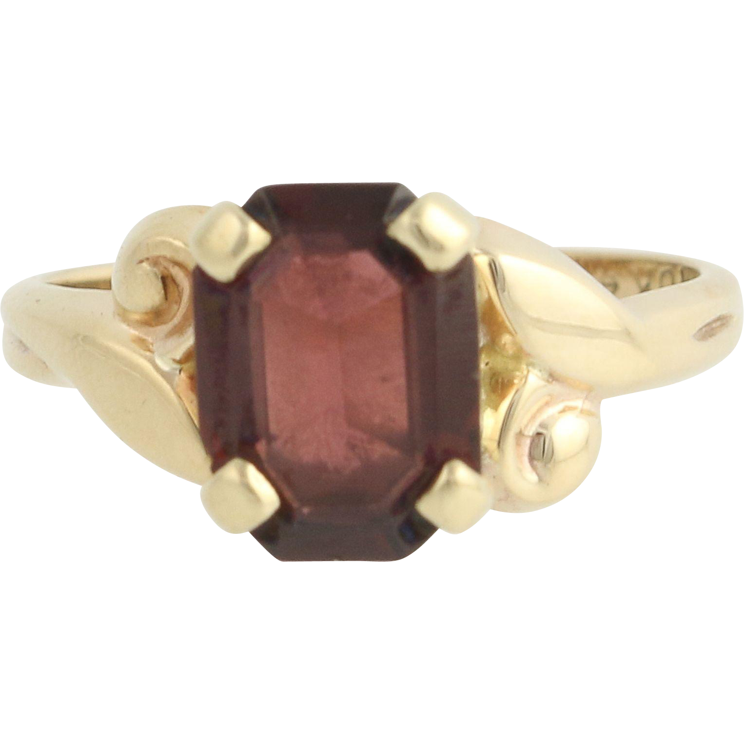 Vintage Garnet Solitaire Ring - 10k Yellow Gold January Birthstone 2.50ct