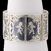 """Vintage Siam Link Bracelet 6 3/4"""" - Sterling Silver Niello Figural Asian goddess"""
