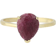 Ruby Solitaire Ring - 14k Yellow Gold Pear Brilliant Cut 2.40ct