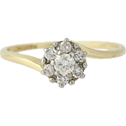 Diamond Cluster Bypass Ring - 14k Yellow Gold Round Brilliant Cut .22ctw