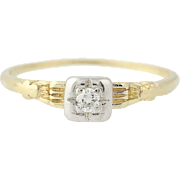 Art Deco Diamond Engagement Ring - 14k Gold Vintage Transitional Round Brilliant