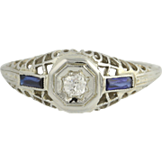 Art Deco Diamond & Synthetic Sapphire Ring - 18k White Gold Vintage .08ct