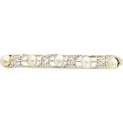 Edwardian Pearl & Diamond Brooch - 14k Gold & Platinum Antique MIne Cut .28ctw