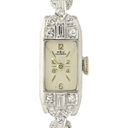 Art Deco Ladies Diamond Watch- 900 Platinum & 1/20 10k Gold Filled Serviced
