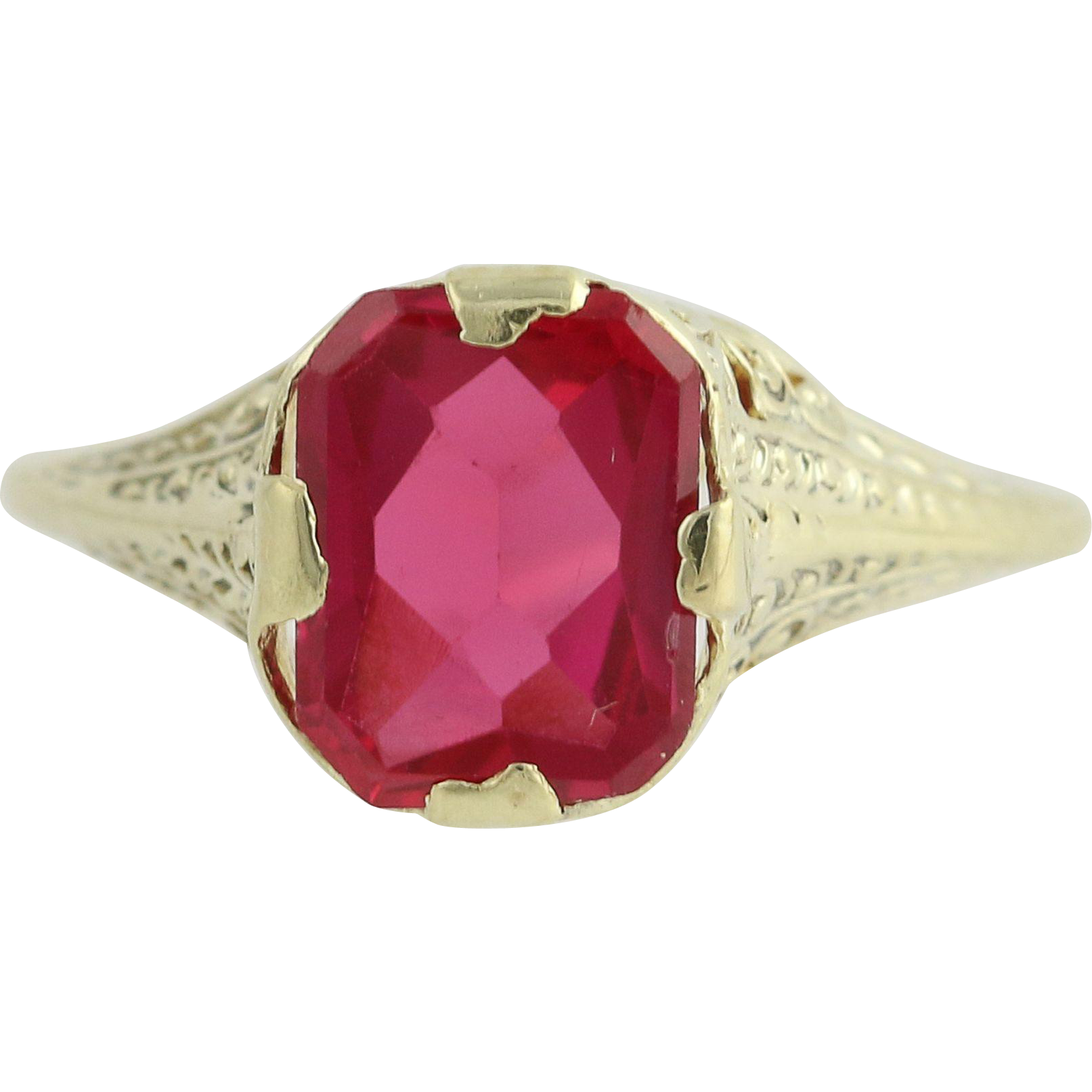 Art Deco Synthetic Ruby Ring - 14k Yellow Gold July Vintage Solitaire