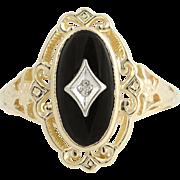 Onyx & Diamond Ring - 10k Yellow & White Gold Women's
