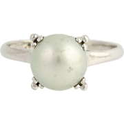 Vintage Cultured Pearl Ring - 14k White Gold 8.4mm June Birthstone