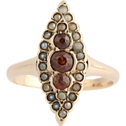 Victorian Garnet & Seed Pearl Ring - 10k Yellow Gold Antique .40ctw