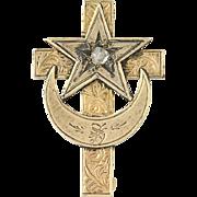 Victorian Brooch - 14k Gold Rose Cut Diamond Cross, Crescent, & Star Antique Pin