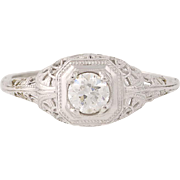 Art Deco Diamond Engagement Ring - 14k White Gold Vintage Old European .32ct