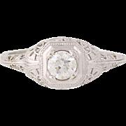 Art Deco Diamond Engagement Ring - 14k White Gold Vintage Old European .32ct