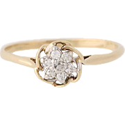 Diamond Floral Cluster Ring - 14k Yellow Gold Engagement Size 7 Women's .10ctw