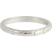 Art Deco Wedding Band - 18k White Gold Vintage Women's Ring