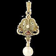 Art Deco Lavaliere Pendant - 10k Yellow Gold Pearls & Garnet Vintage