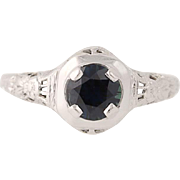 Art Deco Sapphire Ring - 18k White Gold Engagement Vintage Solitaire .96ct